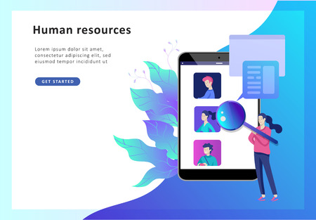 Concept Landing page template Human Resources and selection candidates, banner, presentation, social media. Recruitment for web page. Vector illustration filling out resumes, hiring employees  イラスト・ベクター素材