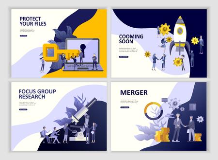 Set Landing page template people business app merger, focus group marcet research and development, cooming soon, time menegement solution. Vector illustration concept website mobile development Illustration