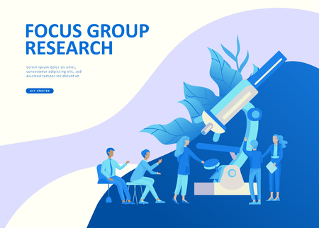 Set Landing page template people business app, marcet research, merger, focus group research and earnings growth, start up and solution. Vector illustration concept website mobile development Иллюстрация