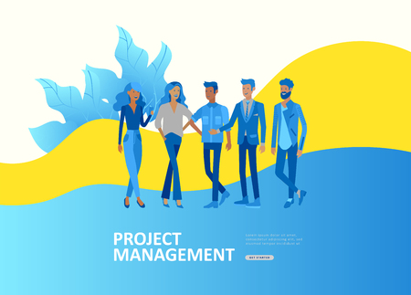 Set Landing page template people develop, business app, winners cup, financial consultant research, cooming soon start up and solution. Vector illustration concept website mobile development Illustration