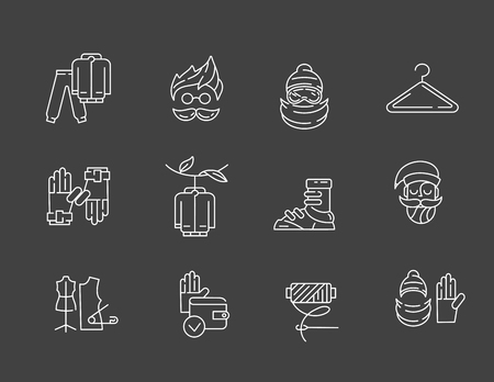 Vector icon and logo for clothes and accessories. Editable outline stroke size. Line flat contour, thin and linear design. Simple icons. Concept illustration. Sign, symbol, element. Banque d'images - 114162899