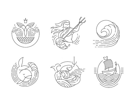 Vector icon and logo for sea or fish, asian food and seafood. Editable outline stroke size. Line flat contour, thin and linear design. Simple icons. Concept illustration. Sign, symbol, element. Illustration