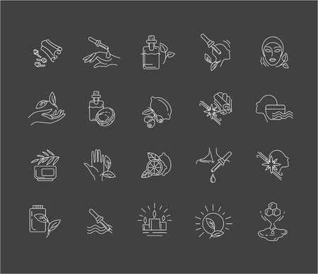 Vector icon for aromatherapy. Editable outline stroke size. Line flat contour, thin and linear design. Simple icons. Concept illustration. Sign, symbol, element.