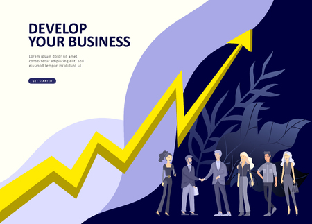 Set Landing page template people develop, business app, winners cup, financial consultant research, cooming soon start up and solution. Vector illustration concept website mobile development Standard-Bild - 114432384