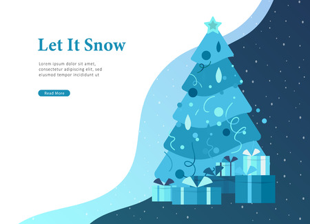 Landing page template or greeting card winter Holidays. Merry Christmas and Happy New Year Website with Christmas tree and gift on background winter snowy Illustration
