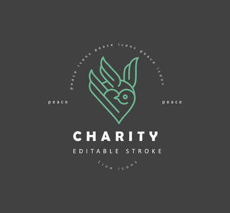 Vector icon and logo peace and charity. Editable outline stroke size. Line flat contour, thin and linear design. Simple icons. Concept illustration. Sign, symbol, element. Ilustração