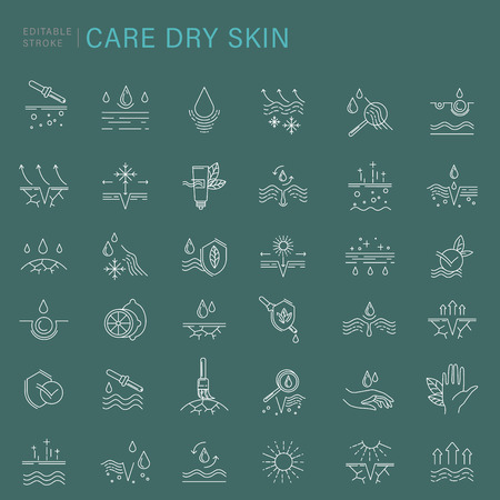 Vector icon and logo for natural cosmetics and care dry skin. Editable outline stroke size.Vitamin E, olive oil, collagen and serum drop elements. Concept illustration. Sign, symbol, element. Stockfoto - 114435668