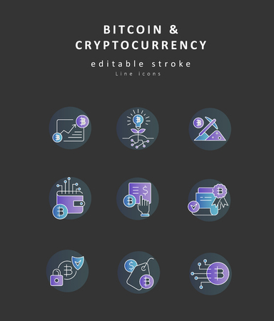 Vector icon bitcoin and cryptocurrency. Editable outline stroke size. Line flat contour, thin and linear design. Simple icons. Concept illustration. Sign, symbol, element.