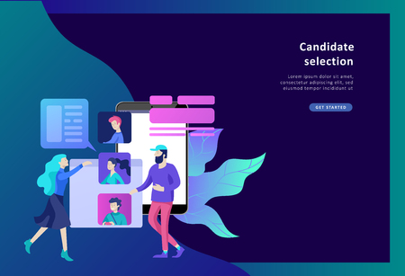 Concept Landing page template Human Resources and selection candidates, banner, presentation, social media. Recruitment for web page. Vector illustration filling out resumes, hiring employees Vettoriali