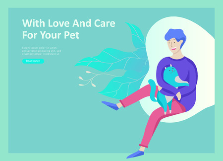 Set of Landing Page Templates with Vector Symbol. Happy people with their pets, a cat loves its owners, care and love, a pet shop and a veterinary pharmacy. Animal Day and adoption. Vector illustration Zdjęcie Seryjne - 114435979