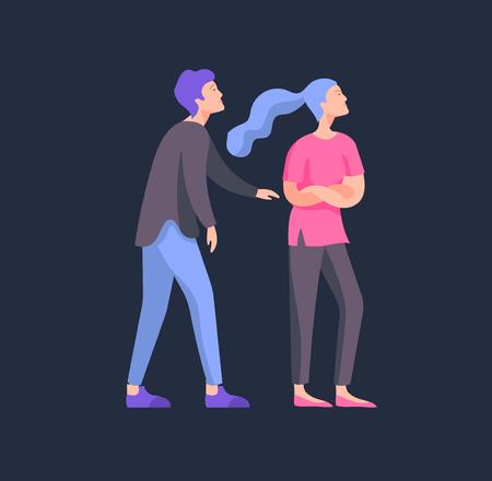 Vecteur de personnes dans de mauvaises émotions, personnage en conflit, en colère ou fatigué et stressé. Les gens agressifs se crient dessus. Illustration de concept plat coloré.
