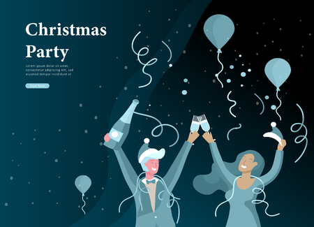 Landing page template or card winter Holidays corporate Party. Merry Christmas and Happy New Year Website with People Characters. Company of young friends or colleagues celebrates Illustration