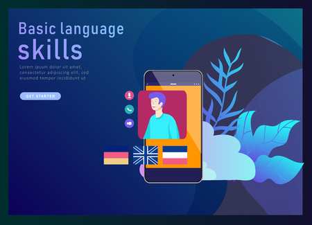 Landing page templates for Online language courses, distance education, training. Language Learning Interface and Teaching Concept. Education Concept, training young people. Internet students