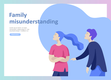 Landing page templates for psyhology mental problems, depression panic attacks, paranoia anger control, relationship family conflict, stress and misunderstanding, psychotherapy character Stock Vector - 114435996