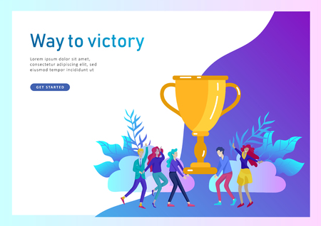 Business Team Success hold Golden winner cup, concept of people are happy with victory. Office Workers Celebrating with Big Trophy, ways goals, first place in business, financial growth. Landing page Иллюстрация