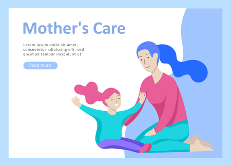 Set of Landing page templates for happy mothers day, child health care, happy childhood and children, goods and entertainment for mother with children. Parent with daughter or son have fun togethers Banque d'images - 114436011