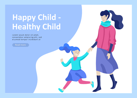Set of Landing page templates for happy mothers day, child health care, happy childhood and children, goods and entertainment for mother with children. Parent with daughter or son have fun togethers Banque d'images - 114436012