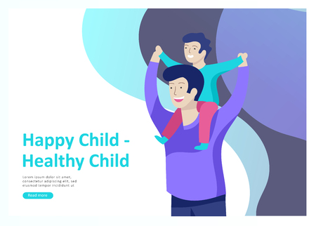 Landing page templates for happy Fathers day, child health care, happy childhood and children, goods and entertainment for Father with children. Parents with daughter and son have fun togethers Banque d'images - 114436013