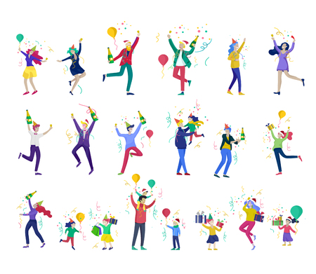 Happy Christmas Day Celebrating together happy. Group of cartoon people in Santa hats and children. Jump and throw gift. Merry Christmas and Happy New Year or birthday party friends character