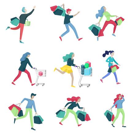 Kolekcja ludzi niosących torby na zakupy z zakupami. Szaleństwo na wyprzedaży, linia szalonych kobiet i mężczyzn biorących udział w sezonowej wyprzedaży w sklepie, sklepie, centrum handlowym. Koncepcja postaci z kreskówek na czarny piątek. Ilustracje wektorowe