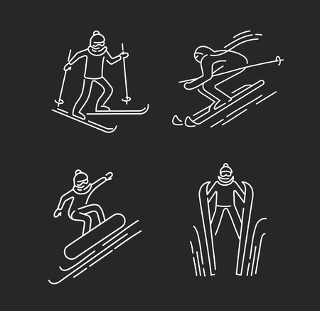 Vector icon for snowboarding and skiing or other winter sports. Editable outline stroke size. Line flat contour, thin and linear design. Simple icons. Concept illustration. Sign, symbol, element.