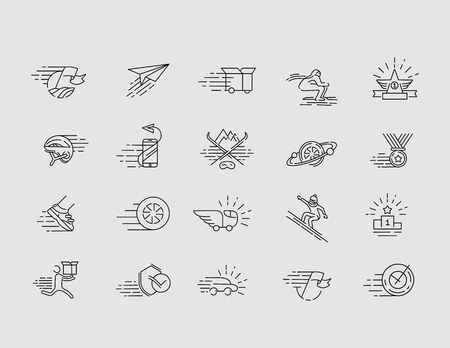 Vector icon for speed motion. Editable outline stroke size. Line flat contour, thin and linear design. Simple icons. Concept illustration. Sign, symbol, element.