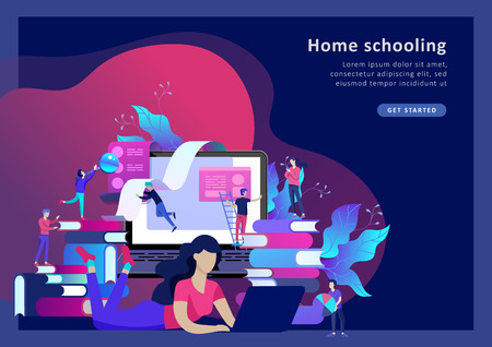 Modèle de page de destination de concept Personnes de l'éducation, études sur Internet, formation en ligne, livre en ligne, tutoriels, apprentissage en ligne pour les médias sociaux, enseignement à distance, documents, cartes, affiches