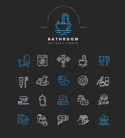 Vector icon and logo of bathroom. Editable outline stroke size. Line flat contour, thin and linear design. Simple icons. Concept illustration. Sign, symbol, element.