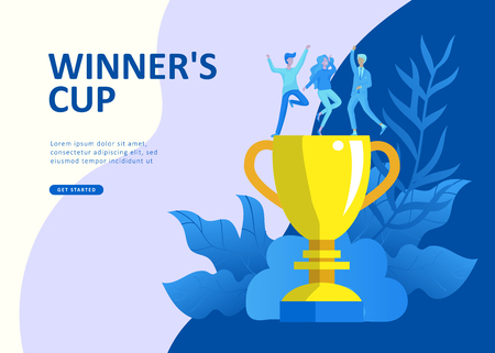 Set Landing page template people develop, business app, winners cup, financial consultant research, cooming soon start up and solution. Vector illustration concept website mobile development Stockfoto - 114841483