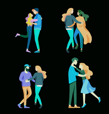 Vector people character. Friends and couple hugging, walking and spend time tygether. Colorful flat concept illustration.