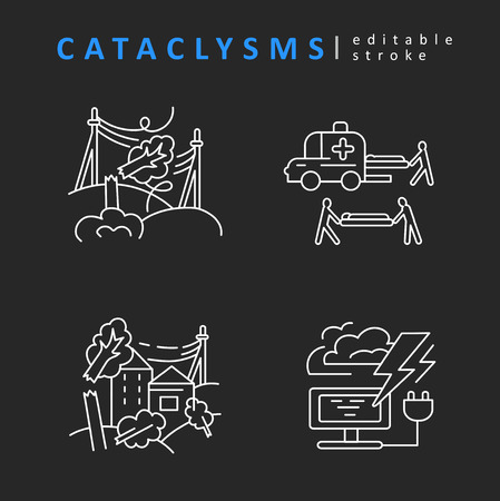 Cataclysms and natural disasters. Vector icon and logo. Editable outline stroke size. Line flat contour, thin and linear design. Simple icons. Concept illustration. Sign, symbol, element. 向量圖像