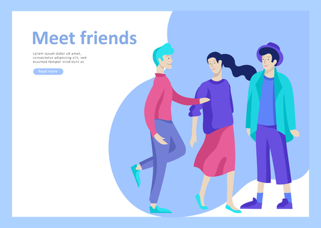 Landing page templates. Vector people happy friends character teenagers with gadgets are walking and chatting, meet new people, chat with old friends and make new. Colorful flat illustration Ilustracja