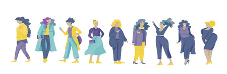 Plus size women dressed in stylish clothing. Set of curvy girls wearing trendy clothes. Happy Female cartoon characters. Bodypositive concept illustration Foto de archivo - 114842173