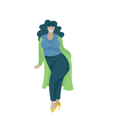 Plus size woman dressed in stylish clothing, girl wearing trendy clothes. Happy Female cartoon character. Bodypositive concept illustration
