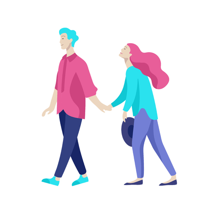 Vector people character walking on the street in autumn or winter clothes, friends and couples. Colorful Group of male and female flat cartoon characters Banque d'images - 126413620