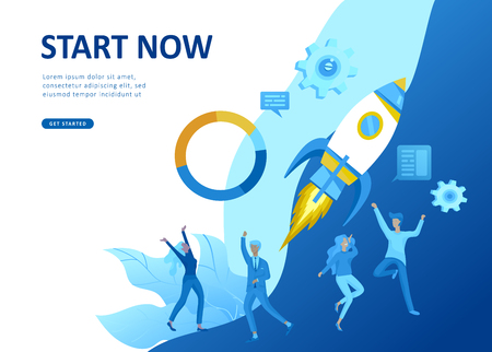 Set Landing page template people develop, business app, winners cup, financial consultant research, cooming soon start up and solution. Vector illustration concept website mobile development Ilustrace