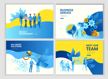 Set Landing page template people business service app, team work, research and project management, cooming soon start up and solution. Vector illustration concept website mobile development