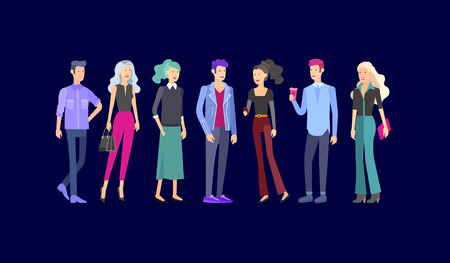 Detailed character students, Lifestyle, couple of young people in street stylish clothes style. Young people with gadgets, backpacks and books. University students. Illustration
