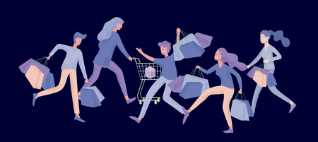 Collection of people carrying shopping bags with purchases. Madness on sale, line of crazy Men and women taking part in seasonal sale at store, shop, mall. Cartoon characters concept for black friday. Vettoriali