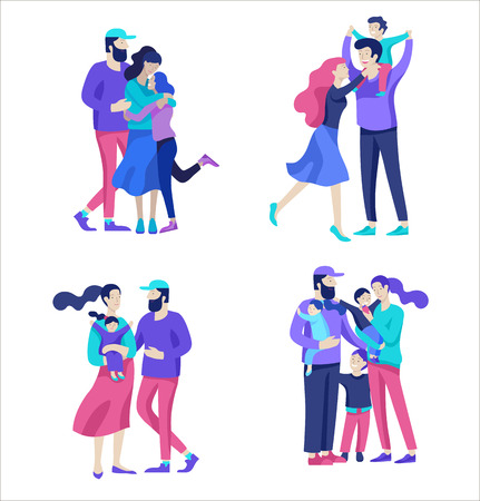 Family spend time together, happy parents with children. Vector people character. Editable outline stroke size. Colorful flat concept illustration.