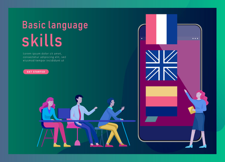 Landing page templates for Online language courses, distance education, training. Language Learning Interface and Teaching Concept. Education Concept, training young people. Internet students Vektorgrafik