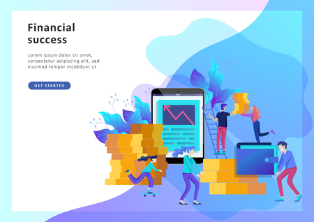 Concept Landing page template. Financial investments, Investment in innovation, marketing, analysis, banner, presentation, social media. Vector illustration guarantee of security financial