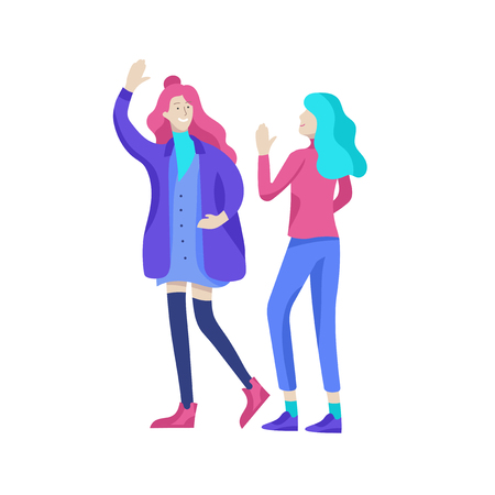 Vector people character walking on the street in autumn or winter clothes, friends and couples. Colorful Group of male and female flat cartoon characters Banque d'images - 126372701