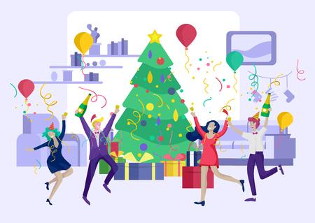 kaart winter Feestdagen bedrijfsfeest. Prettige kerstdagen en gelukkig Nieuwjaar Website met personages van mensen. Gezelschap van jonge vrienden of collega's viert feest Vector Illustratie