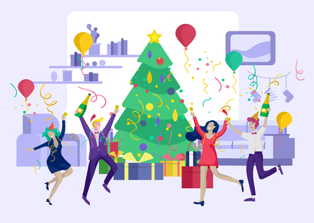 card winter Holidays corporate Party. Merry Christmas and Happy New Year Website with People Characters. Company of young friends or colleagues celebrates