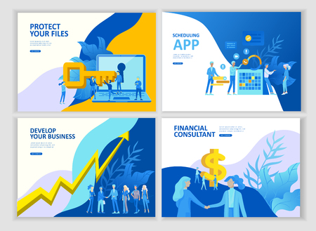 Set Landing page template people develop, business app, winners cup, financial consultant research, cooming soon start up and solution. Vector illustration concept website mobile development Иллюстрация
