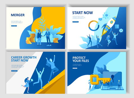 Set Landing page template people business app, file protection merger, focus group research and career growth cooming soon start up and solution. Vector illustration concept website mobile development Stock Illustratie