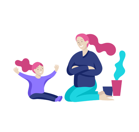 Vector people character. Mother and daughter spending time together. Colorful flat concept illustration.
