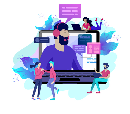 Concept Landing page template customer service, male hotline operator advises client, online global technical support, customer and operator Иллюстрация