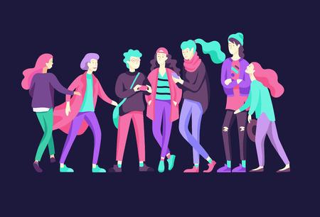 Carácter de amigos felices de la gente del vector. Grupo de adolescentes en ropa de moda de invierno u otoño, con gadgets están caminando y charlando. Ilustración colorida del concepto plano.